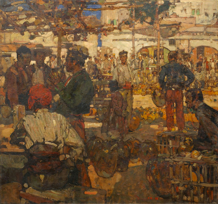 Frank William Brangwyn - 002 Le marché - Рынок - 1893 - 94,5x102,5 - cat. 1913, 3 - inv. Pouchkine J3259