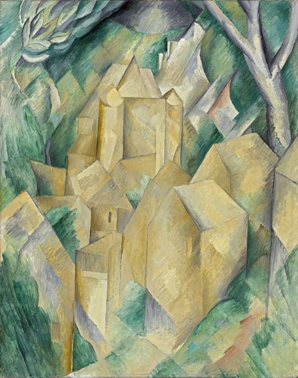 Georges Braque - 003 Le château de la Roche Guyon - замок Ла Рош-Гюион - Eté 1909 - 92x73 - Provenance, Kahnweiler 1910 - cat. 1913, 2 - inv. Pouchkine J3258