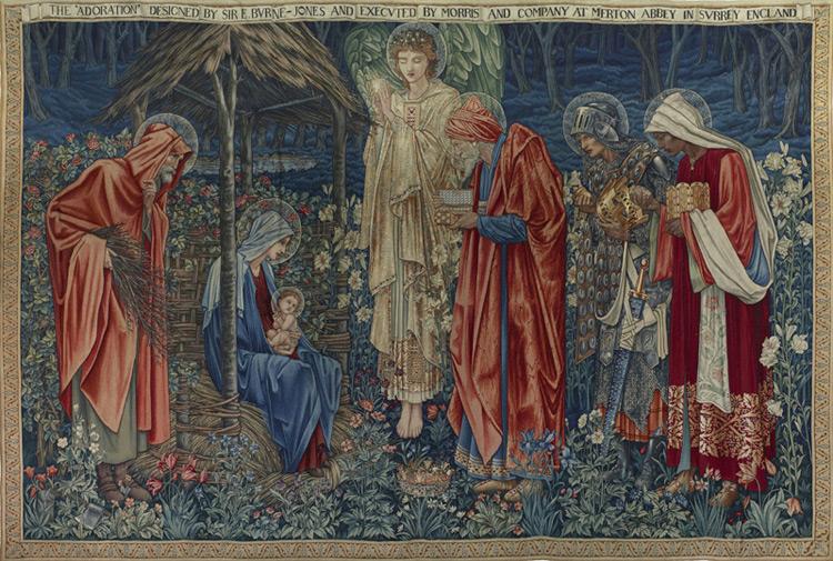 Edward Burne-Jones - 004 L'adoration des mages - Tapisserie de W. Morris - Поклонение волхвов - вышивание В. Морриса - 1886 - 255 x 379 - Commandée en 1902 - cat. 1913, 1 - inv. Ermitage T15431