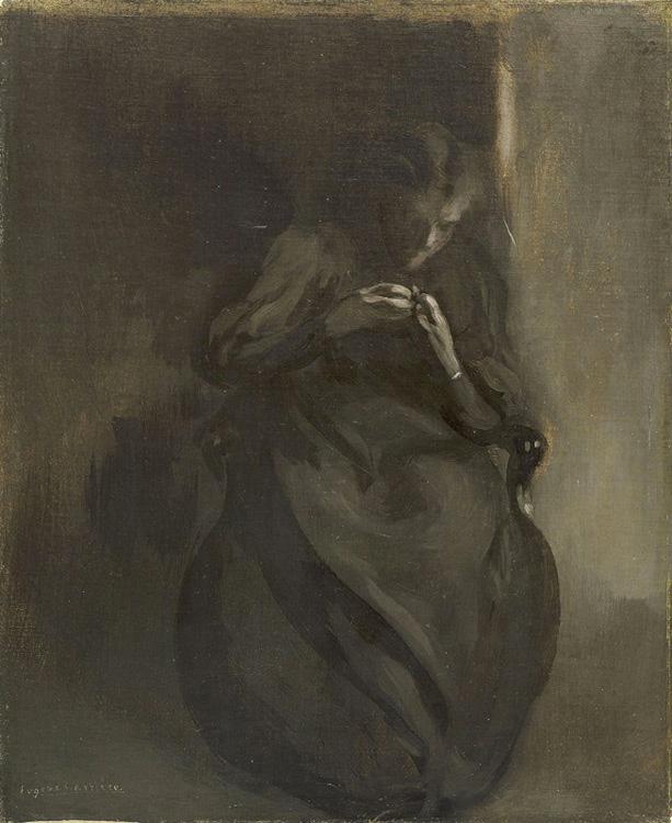 Eugène Carrière - 005 Femme se retirant une écharde du doigt - Женщина, вынимающая из пальца занозу - 1890 - 45,3 x 37,2 - Acheté vers 1900 - cat. 1913, 62 -  inv. Pouchkine J3282