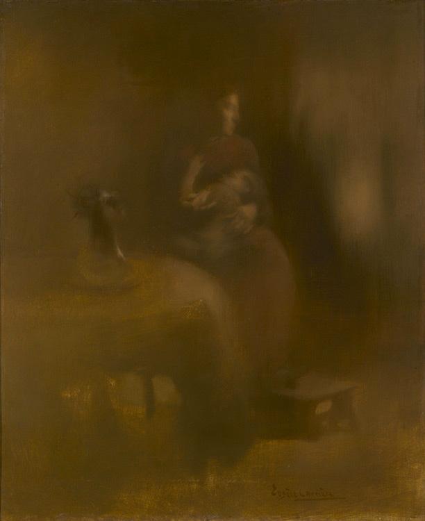 Eugène Carrière - 006 Femme avec un enfant sur les genoux - Женщина с ребёнком на коленях - 1890 - 61,8 x 50,6 - Acheté à Paris vers 1900 -cat. 1913, 64 - inv. Ermitage 9136
