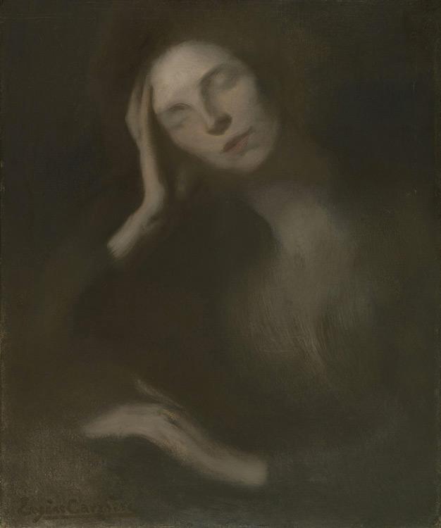 Eugène Carrière - 007 Femme se penchant sur une table - Женщина, склонившаяся на стол - 1893 - 65x54 - Provenance, Paris vers 1900 - Cat. 1913, 63 - inv. Ermitage 6565