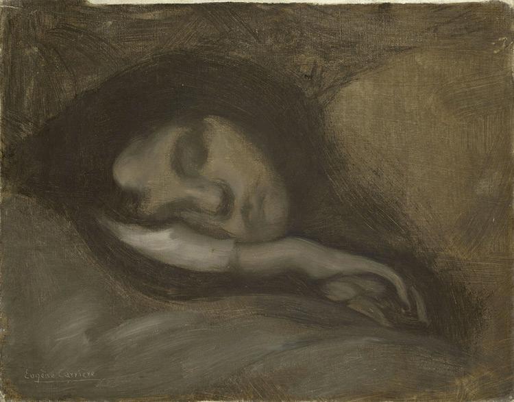 Eugène Carrière - 008 Tête de femme endormie - Голова спящей женщины - 1890 - 36x47 - Acheté à Paris vers 1900 - Cat. 1913, 65 - inv. Pouchkine J3283
