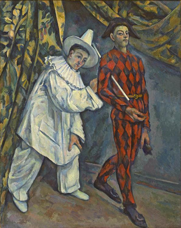 Paul Cézanne - 013 Mardi gras (Pierrot et Arlequin) - Пьеро и Арлекин (марди гра) - 1888/90 - 102 x 81 - Acheté par Durand-Ruel à la vente Choquet 1-4 juillet 1899, 4 400f - vendu à SC le 18 novembre 1904 SC, 20000f - cat. 1913, 204 - inv. Pouchkine J 3335