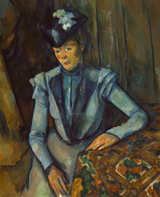 Paul Cézanne - 015 La dame en bleu - Дама в голубом платье - circa 1900 - 90 x 73,5 - Acheté chez Vollard, 16 avril 1909 (18000f) - cat. 1913, 203 - inv. Ermitage 8990