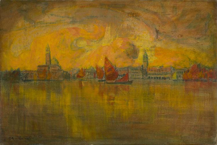 Charles Cottet-018 Venise vue de la mer - Вид Венеции с моря - 1896 - 55x82 - Acheté vers 1900 - cat. 1913, 67 - inv. Ermitage 9059