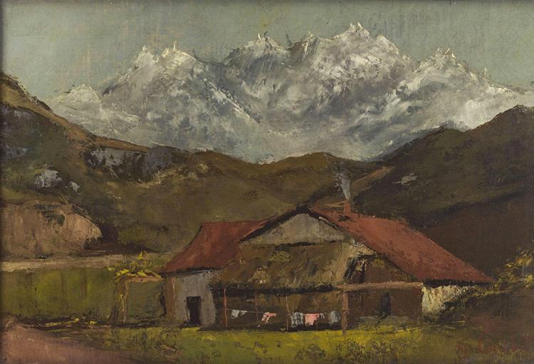 Gustave Courbet - 020 Le chalet dans la montagne - Хижина в горах - vers 1875 - 33 x 49 - Acheté vers 1899 - cat. 1918, 70 - inv. Pouchkine J 3542