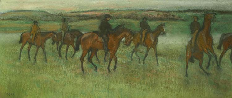 Edgar Degas - 022 Chevaux de courses - Проездка скаковых лошадей - pastel sur papier - 1880 = 36x86 - Acheté avant 1903 - cat. 1913, 40 - inv. Pouchkine J 3257