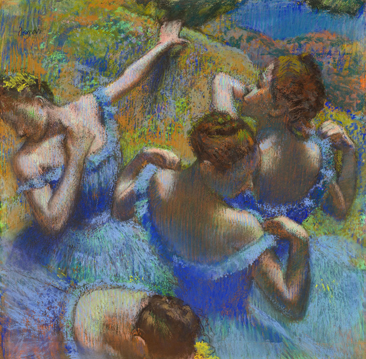 Edgar Degas - 026 Danseuses en bleu - Голубые танцовщицы - pastel sur papier - 1899 - 65 x 65 - Acheté chez Durand-Ruel, 29 octobre 1903, 35 000 f - cat. 1913, 38 - inv. Pouchkine J 3273