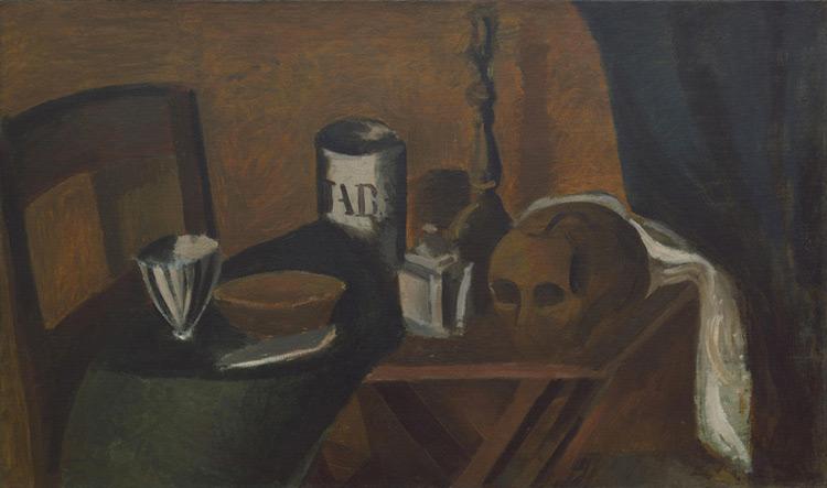 André Derain - 038 Nature morte au crâne - Натюрморт. Череп - 1912 - 72x119 - Acheté chez Kahnweiler, fin1912 ? - cat. 1913, 48 - inv. Ermitage 9084