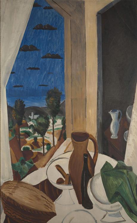 André Derain - 040 Nature morte devant la fenêtre - Стол у окна (Вид из окна) - 1912 -128x79 - Acheté chez Kahnweiler, 1913 ? - cat. 1913, 232 - inv. Pouchkine J 3352
