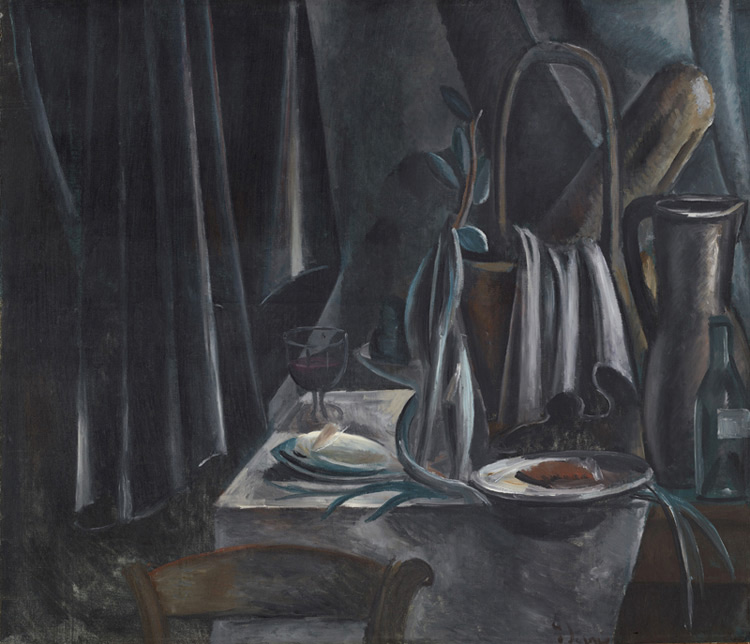 André Derain - 041 Nature morte au panier avec un pain - Натюрморт. Корзина с хлебом, кувшин и бокал с красным вином - 1912/13 - 100,5x118 - Acheté chez Kahnweiler, 1913 ? - cat. 1913, 49 - inv. Ermitage 6542