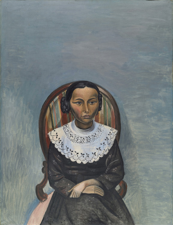 André Derain - 043 Portrait de la jeune fille en noir - Портрет девушки в черном - circa 1913 - 116,5x89,3 - Acheté chez Kahnweiler,  début 1914 - cat. 1913, 241 ajout - inv. Ermitage  9125