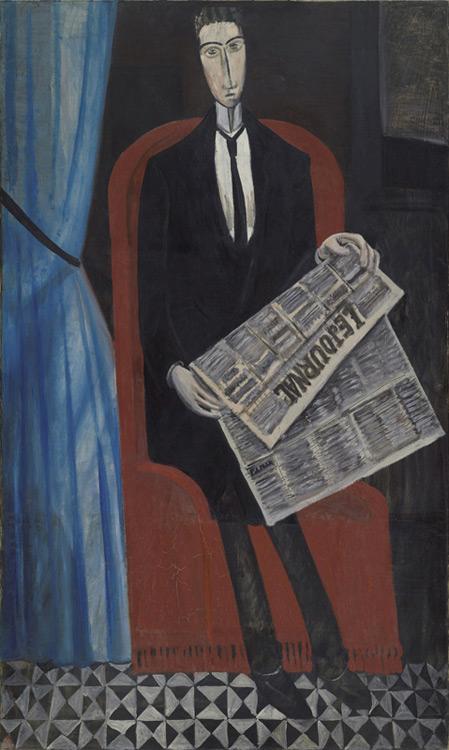 André Derain - 045 L'homme au journal (Chevalier X) - Портрет неизвестного, читающего газету - 1911/14 -162,5x97,5 - Acquis chez Kahnweiler, début 1914 - cat. 1913, ajout 236 - inv. Ermitage 9128