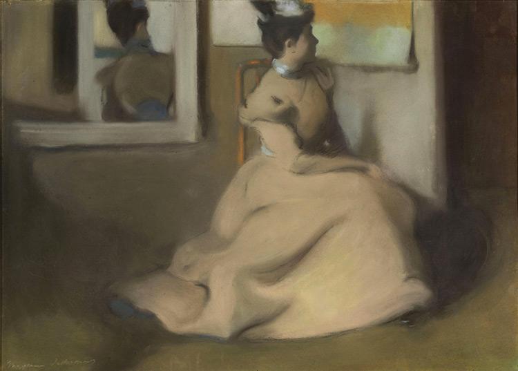 Maxime Dethomas - 047 La dame au miroir - Дама у зеркала -  pastel sur carton - circa 1903 - 47x67 - Acquisition? - cat. 1913, 54 - inv. Pouchkine J 3280