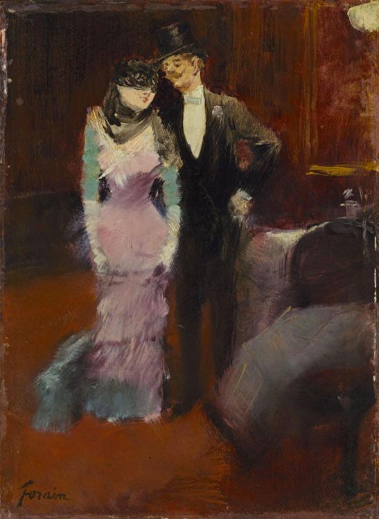 Jean-Louis Forain - 051 Sortie de bal masqué - Выход из маскарада - 1880 - 22x16 - Etude, huile sur bois - Acheté chez Durand-Ruel en 1898 - cat. 1913, 222 - inv. Pouchkine J 3348