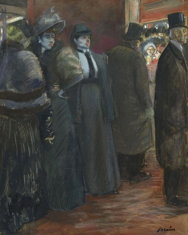 Jean-Louis Forain - 052 Le foyer du théâtre - Театральное фойе - 1890 - 89x71 - pastel et gouache sur carton - Картон, пастель - Acheté chez Durand-Ruel en 1898 - cat. 1913, 223 - inv. Pouchkine J 3349