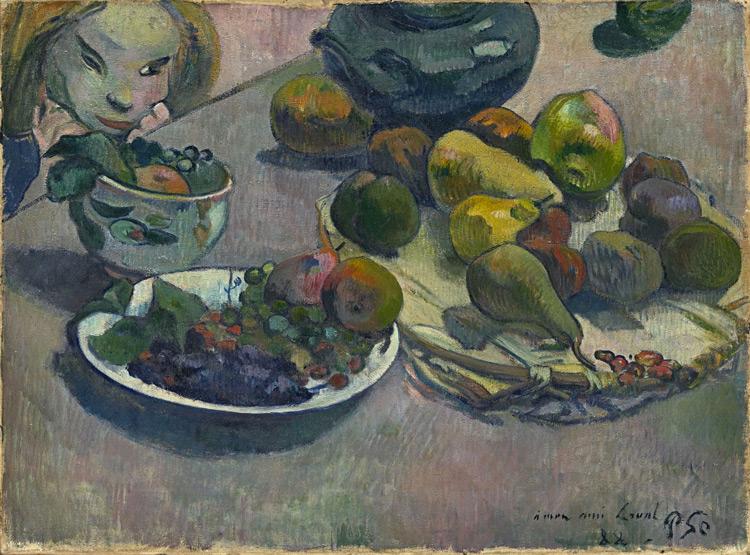 Paul Gauguin - 055 Nature morte aux fruits et visage - Натюрморт с фруктами - 1888 - 43x58 - Acquis chez Vollard, 4 mai 1906 - cat. 1913, 32 - inv. Pouchkine J 3271