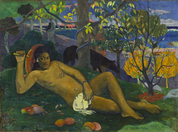 Paul Gauguin - 060 Femme sous le manguier (La femme du roi) - Королева (Жена короля) - 1896 - 97x130 - Acheté chez Gustave Fayet, mai 1908, 30 000 f - cat. 1913, 19 - inv. Pouchkine J 3265