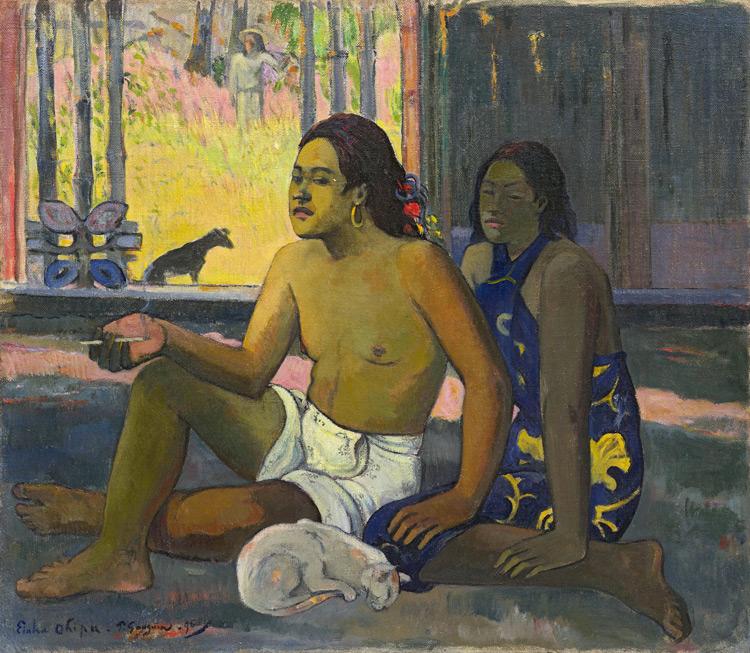 """Paul Gauguin - 061 Couple assis dans une chambre avec un chat - Таитяне в комнате (""""Не работай"""") - 1896 - 65x75 - Acquis chez Vollard, 5 novembre 1906 (+ 058 + 062) 21 000 f - cat. 1913, 23 - inv. Pouchkine J 3267"""