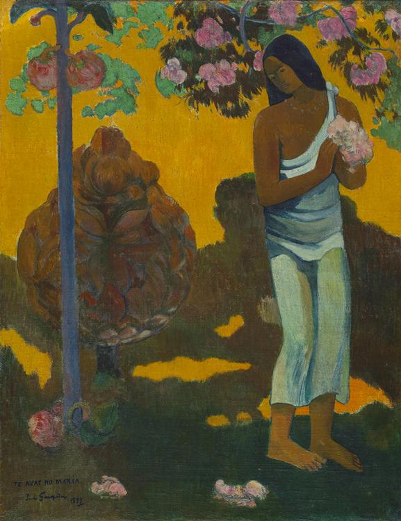 Paul Gauguin - 067 Te Avae No Maria (le mois de Marie) (Femme avec des fleurs dans la main) - Месяц Марии (Женщина с цветами в руках) - 1899 - 96x74,5 - Acheté chez Vollard, 28 avril 1908 SC +070 = 8000f - cat. 1913, 29 - inv. Ermitage 6515