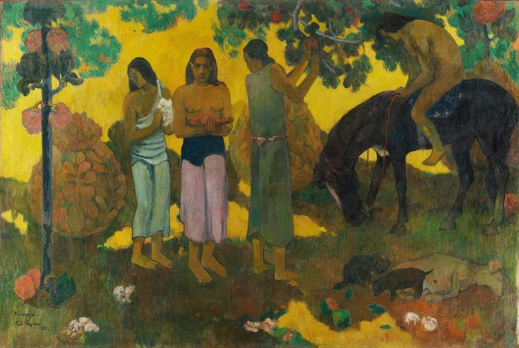 Paul Gauguin - 068 Rupe-Rupe (la cueillette des fruits) - Ruperupe. Сбор плодов - 1899 - 128x190 - Gustave Fayet,  mai 1908 SC, 17 000 f + 060 - cat. 1913, 24 - inv. Pouchkine J 3268