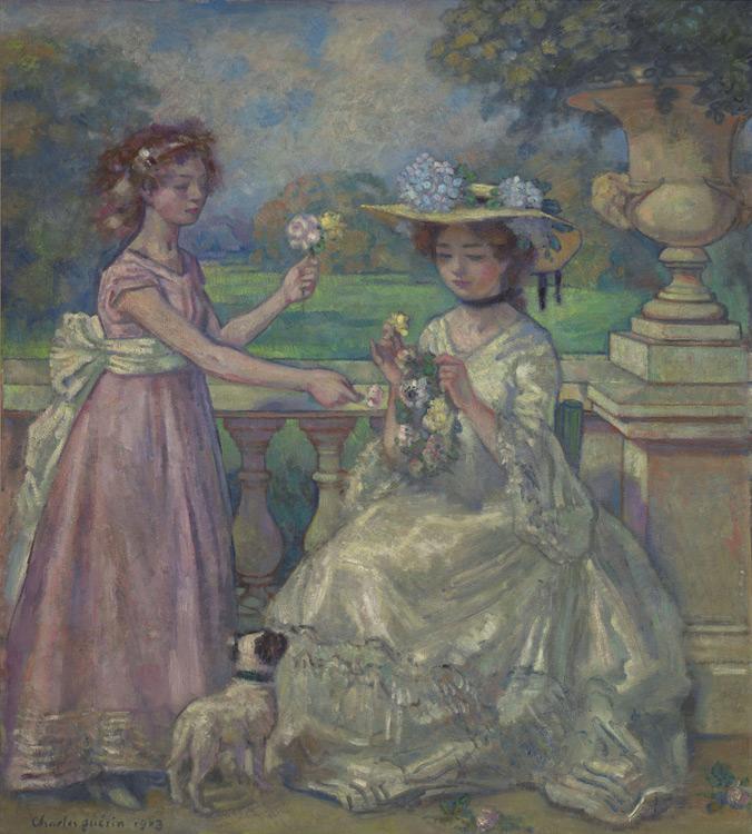 Charles Guerin - Deux jeunes filles sur une terrasse - Две девушки на террасе - 1903 - 147x131 - Provenance, Paris 1903/04? - cat. 1913, 12 - inv. Pouchkine J 3261