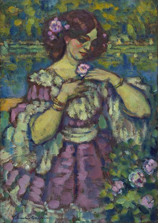Charles Guerin  - 074 La dame à la rose - Дама с розой - 1901 - 52,5x37,5 - Acquis au Salon d'automne 1903 - cat. 1913, 13 - inv. Ermitage 7713