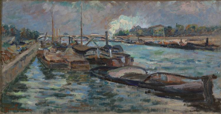 Armand Guillaumin - 075 La Seine (Verso : Paysage avec une usine) - Сосна в Берси (Сена) - 1867/8 - 26x50 - Acquis à Paris 1900/1903? - cat. 1913, 14 - inv. Ermitage 8904