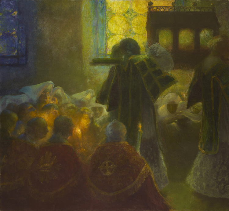 Gaston La Touche - 082 Le transfert des reliques - Перенесение мощей (Святыня) - 1899 -145x156,5 - Acheté à l'Exposition universelle de 1900 - cat. 1913, 72 - inv. Ermitage 9653