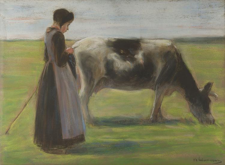 Max Liebermann - 087 Jeune fille avec une vache - Девушка с коровой - Pastel sur papier - Circa 1890 - 54,8x74,3 - Acquisition, vers 1900 - cat. 1913, 74 - inv. Pouchkine J 3286