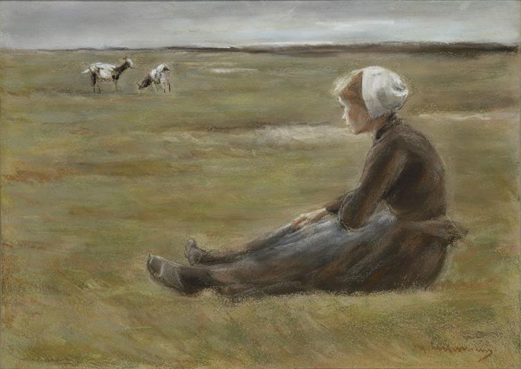 Max Liebermann - 088 Jeune fille assise - В поле - pastel sur papier gris - circa 1890 - 54x79 - Acquis à Paris vers 1900 - cat. 1913, 75 - inv. Ermitage OP 42322