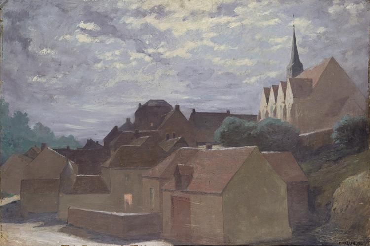 Fernand Maglin - 094 Village avec une cathédrale -  Городок с собором - 1899 - 38x55 - Acheté vers 1904 - cat.1913, 80 - inv. Ermitage  7715