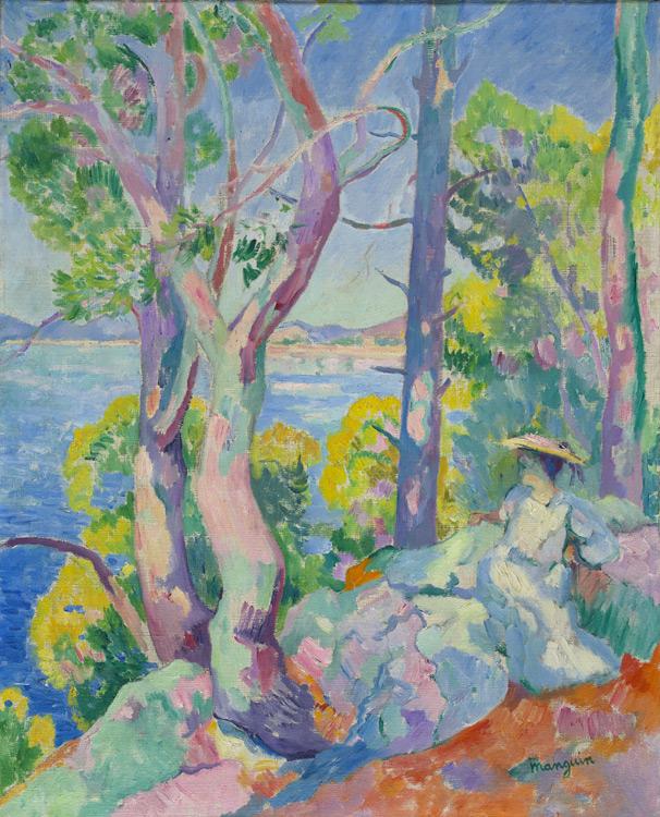 Henri Charles Manguin - 095 Dame assise au bord du golfe de Cavalière - Утро в Кавальере (Женщина на берегу) - 1906 - 81,5x65 - Acheté au salon d'automne 1906 -cat. 1913, 83 - inv. Ermitage 8956