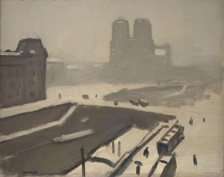 Albert Marquet - 099 Paris en hiver, Notre Dame - Собор Парижской Богоматери зимой - 1908 - 65x81 - Acquis chez Druet, été 1911 (avec 98+100+103) - cat. 1913, 88-  inv. Pouchkine J 3292