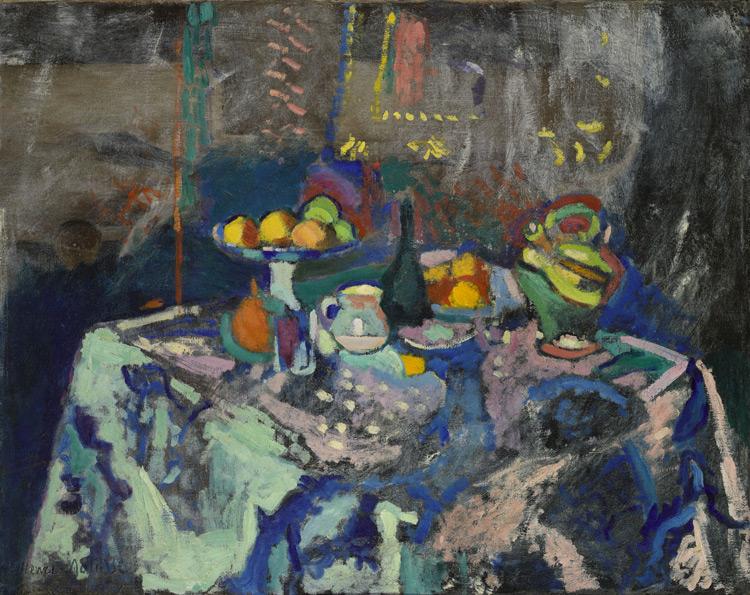 Henri Matisse - 111 Nature morte (vase avec fruits et bouteille) -  Ваза, бутылка и фрукты - 1906 - 73x92 - Acheté chez Druet, 1908 - cat. 1913, 110 - inv. Ermitage 7696