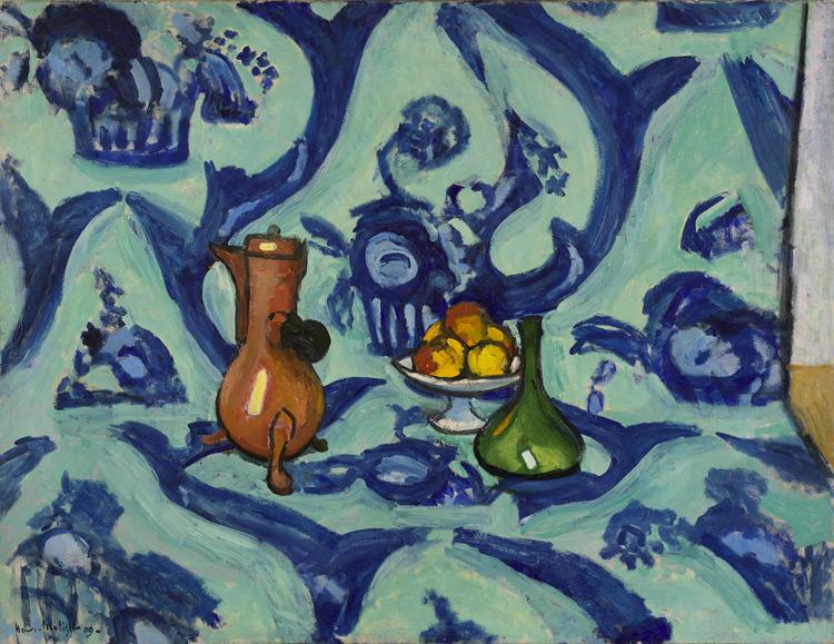 Henri Matisse - 119 Nature morte en camaïeu de bleu - Натюрморт с голубой скатертью - 1909 - 88,5x116 - Acquis à l'atelier en février 1909, 3000 f - cat. 1913, 114 - inv. Ermitage 6569