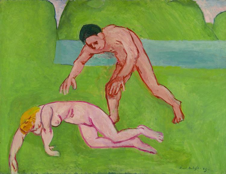 Henri Matisse - 120 La nymphe et le satyre - Нимфа и сатир - 1908/9 - 89x117 - Acheté chez Bernheim le 12 janvier 1909, 3000 f - cat. 1913, 112 - inv. Ermitage 9058