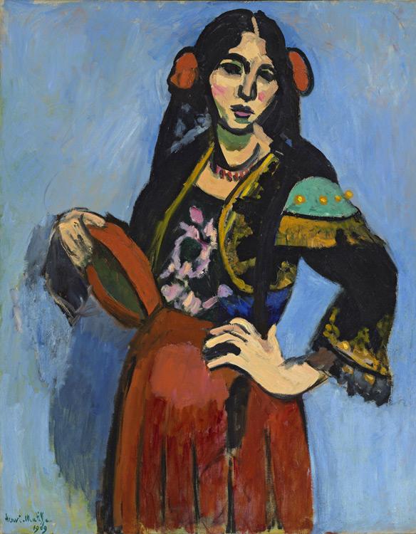 Henri Matisse - 121 L'Espagnole au tambourin - Испанка с бубном - 1909 - 92x73 - Acheté chez Bernheim-J le 24 mars1909, 5000f - cat. 1913, 102 - inv. Pouchkine J 3297