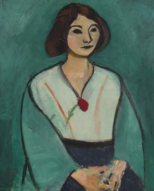 Henri Matisse - 122 La dame en vert (la dame à l'œillet) - Дама в зеленом - 1909 - 65x54 - Acheté chez Bernheim-J le 11 octobre 1909, 2500 f - cat. 1913, 100 - inv. Ermitage 6519