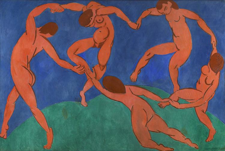 Henri Matisse - 124 La danse - Танец - 1909/10 - 258x390 - Commandé le 31 mars 1909 (15 000f - 57 000€) - Reçu en novembre 1910 SC après le Salon d'automne - cat. 1913, 98 - inv. Ermitage 9673