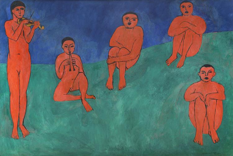 Henri Matisse - 125 La musique - Музыка - 1909/10 - 258x390 - Commandé le 31 mars 1909 (12 000f - 45 600€) - Reçu en novembre 1910 après le Salon d'automne - cat. 1913,97 - inv. Ermitage 9674