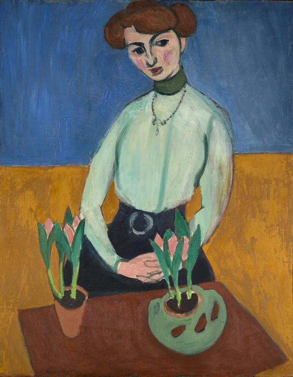 Henri Matisse - 126 La jeune fille aux tulipes (portrait de Jeanne Vaderin) -  Девушка с тюльпанами - 1910 - 92x73, 5 - Echangé chez Bernheim en novembre 1910 contre  un Puvis de Chavannes 5000f - cat. 1913, 104 - inv.Ermitage 9056