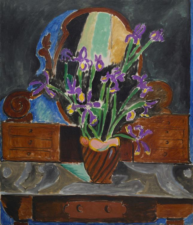Henri Matisse - 133 Les iris - Ваза с ирисами - 1912 - 118x100 - Acheté chez Bernheim le 13 juillet 1912, 4000 f - cat. 1913, 117 - inv. Ermitage 8965