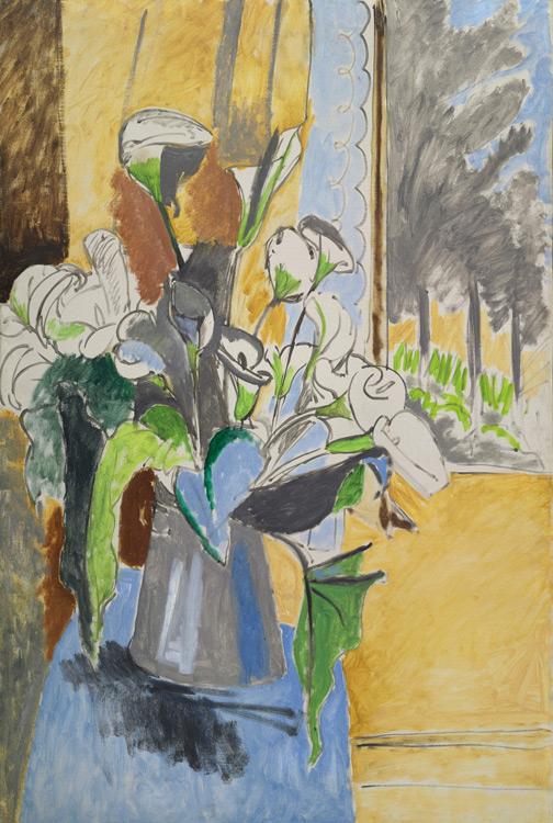 Henri Matisse - 139 Bouquet d'arums sous la véranda - Букет цветов. Каллы (Букет цветов в серой вазе / На веранде) - 1912 - 145x97 - Acheté à l'atelier, janvier 1913, 6000f - cat. 1913, 128 - inv. Ermitage 7700