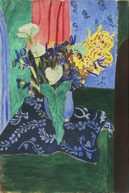 Henri Matisse - 140 Arums, iris et mimosas - Арумы, ирисы и мимоза (Голубая ваза с цветами на синей скатерти) - 1913 - 147x96 - Acheté à l'atelier 6000 f - cat. 1913, 125 - inv. Pouchkine J 3303