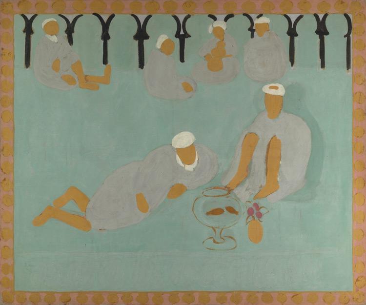 Henri Matisse - 141 Le café marocain - Арабская кофейня -  Détrempe sur toile - 1913 - 176x210 - Acheté en avril 1913 après l'exposition « Peinture du Maroc » chez Bernheim-Jeune, 10 000 f - cat. 1913, 233 - inv. Ermitage 9661