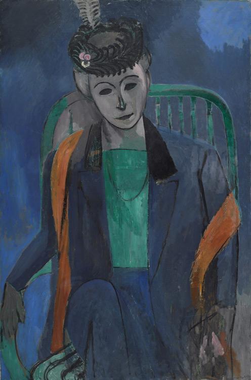 Henri Matisse - 142 Portrait de madame Matisse - Портрет жены художника - 1913 - 145x97 - Acheté à l'atelier, 6 000 f – Exposé au Salon d'automne, fin 1913 - cat. 1913, 245 ajout - inv. Ermitage 9156