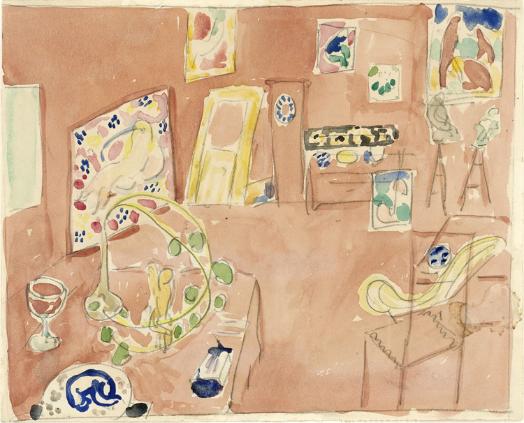 Henri Matisse - 142 b Esquisse de l'atelier du peintre - Этюд к картине «Мастерская художника» - crayon et aquarelle sur papier - 1912 - 21,6x26,8 - inv. Pouchkine r10478