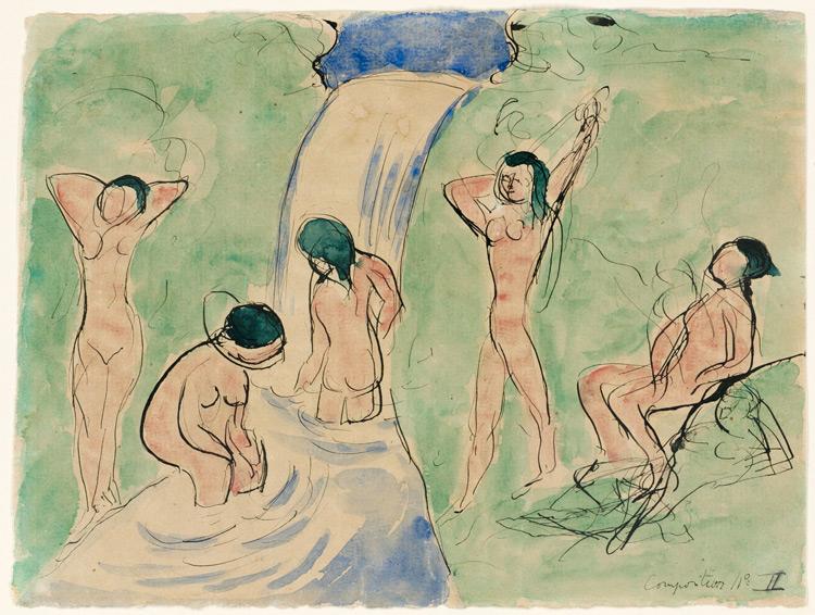 Henri Matisse - 142c composition N°2 - Купальщицы (Композиция № II) - encre et aquarelle sur papier - 1909 - 22x29,2 - Envoyé par courrier de Matisse à Chtchoukine le  11 mars 1909 - inv. Pouchkine r10308
